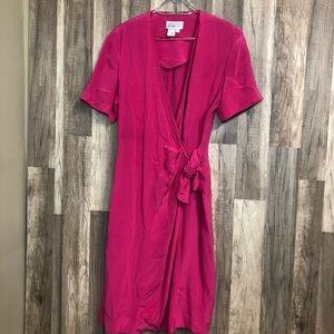 Adrianna Papell Vintage Silk Faux Wrap Dress 6